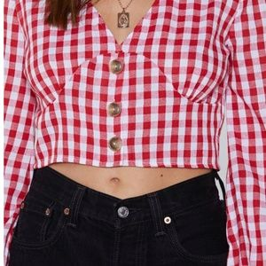 Nasty Gal Tops - Nasty Gal Check On It Cropped Top